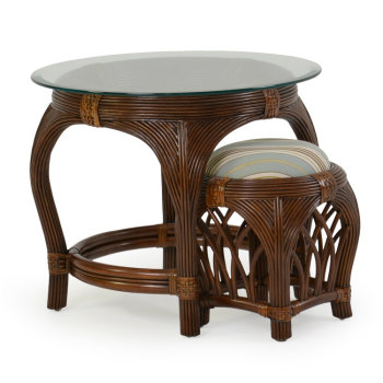Palm Springs Island Way Round End Table with Stool